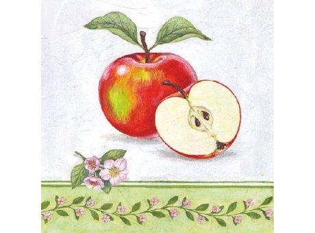Ambiente Servietten Apple Blossom Früchte Äpfel und Blumen rot grün rosa weiß Papierservietten 33 x 33 cm