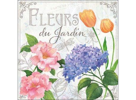Ambiente Servietten Fleurs du Jardin hellgrau mit Garten Blumen blau rosa orange grün