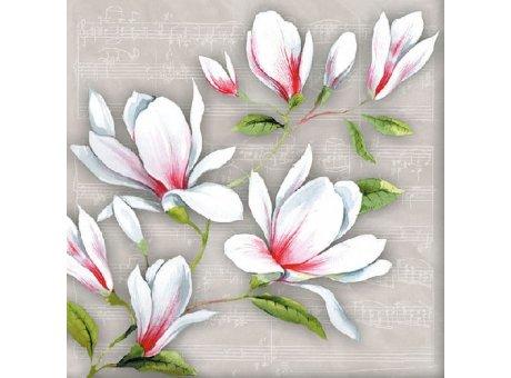 Ambiente Servietten Musical Magnolia hellgrau mit Magnolien in weiß und rot Musik Noten