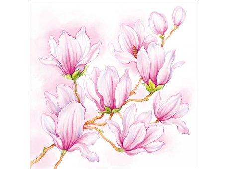 Ambiente Servietten Nice Magnolia weiß mit Magnolien in rosa rot Blumen