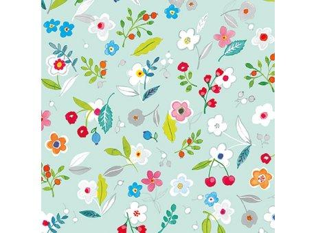 Ambiente Servietten Tilly aqua Serviette türkis mit bunten Frühlings Blumen