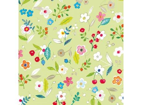 Ambiente Servietten Tilly green Serviette hellgrün mit bunten Frühlings Blumen auf grün