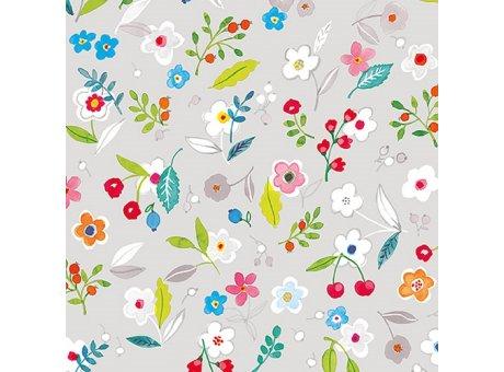 Ambiente Servietten Tilly grey Serviette hellgrau mit bunten Frühlings Blumen auf grau