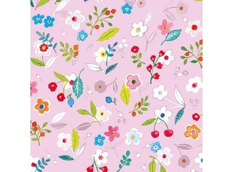 Ambiente Servietten Tilly lila Serviette rosa mit bunten Frühlings Blumen auf pink