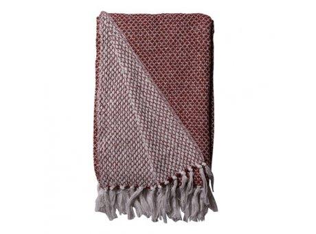AU Maison Decke Rot Weiss Plaid mit Fransen 130x180 cm aus Recycelt Baumwolle Nr 981-023-396-562