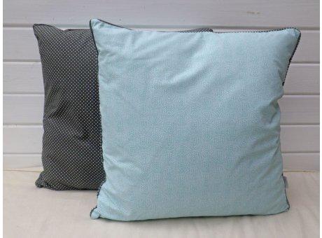 AU Maison Kissen 50x50 grau gepunktet türkis Muster