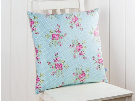 AU Maison Kissen Flora Blumen Türkis mit Punkten und Rose mit Streifen 50x50 cm Zierkissen mit Füllung Vorderseite