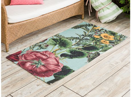 AU Maison Outdoor Teppich Meadow Mint mit Blumen Garten 70x140 Läufer für Balkon und draußen waschbar für aus PET recycelt Kunststoff