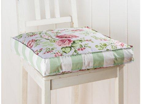 AU Maison Sitzkissen Sophia Blumen Streifen Mint 45x45x7 cm Rosenmuster Stuhlkissen mit Fuellung