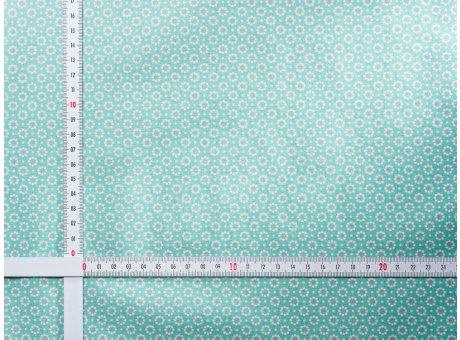 AU Maison Wachstuch Belle Fleur Aqua Sky Tischdecke Stoff Meterware aus Baumwolle beschichtet Türkis klein Blumen 140 cm breit zum selber nähen