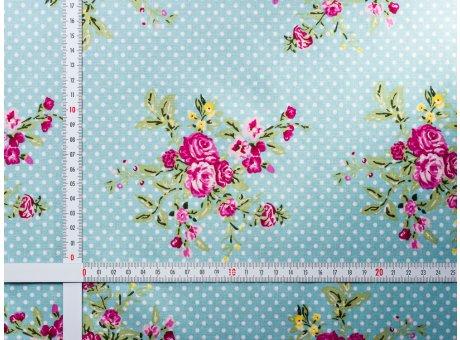 AU Maison Wachstuch Flora Aqua Sky Tischdecke Stoff Meterware aus Baumwolle beschichtet Türkis Punkte Blumen Rosenmuster 140 cm breit zum selber nähen