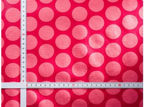 AU Maison Wachstuch Super Dots Raspberry Peachy Pink Tischdecke Stoff Meterware aus Baumwolle beschichtet Rosa Pink große Punkte 140 cm breit zum selber nähen