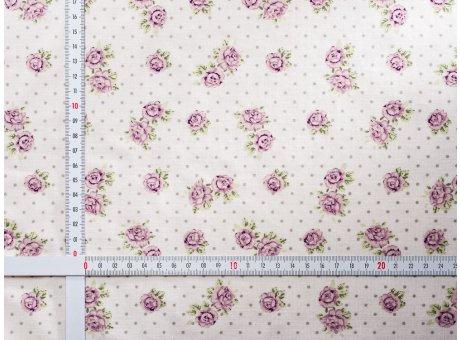 AU Maison Wachstuch Victoria White Tischdecke Stoff Meterware aus Baumwolle beschichtet weiß mit Punkten und Blumen Rosen 140 cm breit zum selber nähen