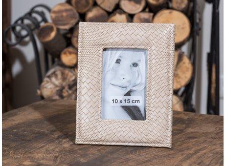 Bilderrahmen Leandra beige Kroko Flecht Leder Optik für ein Foto 23 cm