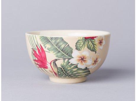 Bloomingville Aruba Schale creme mit Blüten und Palmenblätter Design Müslischale aus Keramik