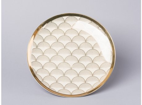 Bloomingville Aruba Teller creme gold Fächer Design Essteller mit Goldrand 25 cm