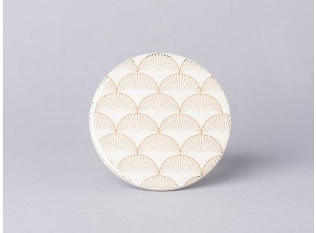 Bloomingville Aruba Teller creme gold mit Fächer Design Untersetzer aus Keramik 10 cm