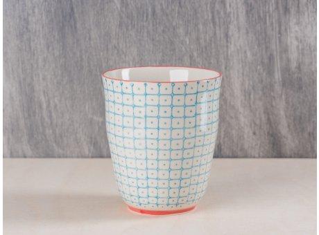 Bloomingville Becher blau weiß mit rotem Rand und Fuß aus Carla Geschirr Serie Teetasse 9,5 cm hoch