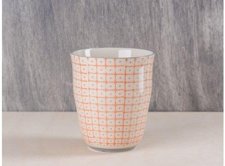 Bloomingville Becher orange creme weißes Muster mit hellgrauem Rand und Fuß in grau aus Carla Geschirr Serie 9,5 cm hoch