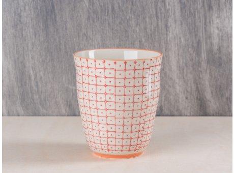 Bloomingville Becher rot creme weißes Muster mit orange farbigem Rand und Fuß aus Carla Geschirr Serie 9,5 cm hoch