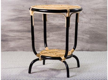 Bloomingville Beistelltisch Aliana Tisch aus Rattan in schwarz natur Durchmesser 50 cm Höhe 60 cm