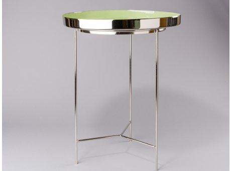 Bloomingville Beistelltisch grün silber Tablett Tisch aus Metall rund