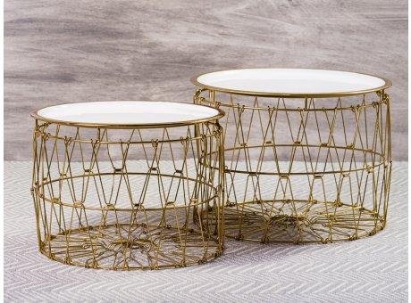 Bloomingville Beistelltisch Korb Weiß Gold Draht Design Tisch Oberfläche weiss emailliert Unterteil Metall Gruppe