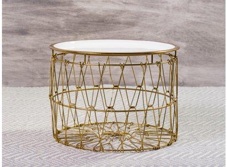 Bloomingville Beistelltisch Korb Weiß Gold Draht Design Tisch Oberfläche weiss emailliert Unterteil Metall 31x42 cm