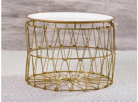 Bloomingville Beistelltisch Korb Weiß Gold Draht Design Tisch Oberfläche weiss emailliert Unterteil Metall 34x47 cm
