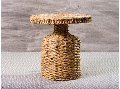 Bloomingville Beistelltisch Nachttisch Camo aus Wasserhyazinthe natur farbig rund 47 cm hoch Durchmesser 47 cm