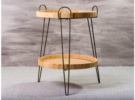 Bloomingville Beistelltisch Rattan Tablett Tisch mit 2 Etagen 57 x 71 cm