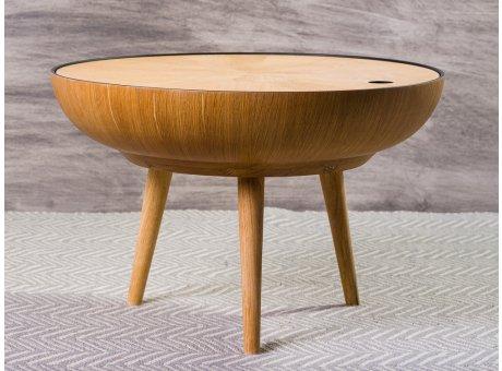 Bloomingville Beistelltisch RONDA Eiche Tisch mit Stauraum Couchtisch aus Holz Durchmesser 60 cm Höhe 40 cm