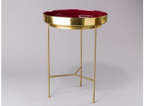 Bloomingville Beistelltisch rot gold Tablett Tisch aus Metall rund