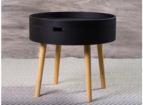 Bloomingville Beistelltisch Schwarz mit Staufach 50 cm Nachttisch rund Coffee Table schlicht modern Design