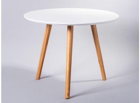 Bloomingville Beistelltisch weiß rund drei Beine Bambus Holz Coffee Table Durchmesser 59 cm groß