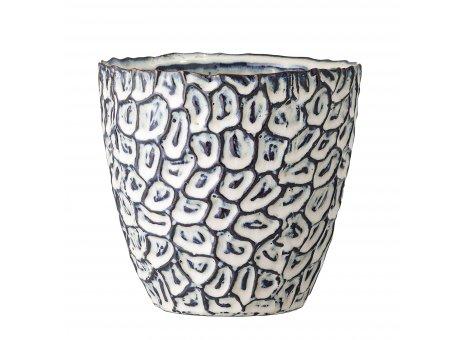 Bloomingville Blumentopf Blau  Weiß 14 cm Keramik Übertopf Höhe 13,5 cm Bloomingville Produkt Nummer 82047913