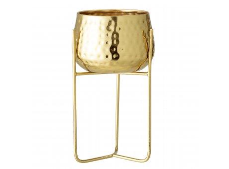 Bloomingville Blumentopf Gold mit Ständer aus Metall 12,5 cm Übertopf Höhe 23 cm Bloomingville Produkt Nummer 82047763