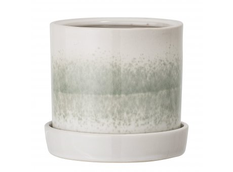 Bloomingville Blumentopf Grün mit Untersetzer 14 cm Keramik Übertopf Höhe 13 cm Bloomingville Produkt Nummer 75230629