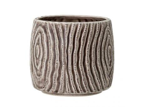 Bloomingville Blumentopf HENA Grau Rillen Design Keramik 12 x 13 cm Bloomingville Übertopf Nr 82050073