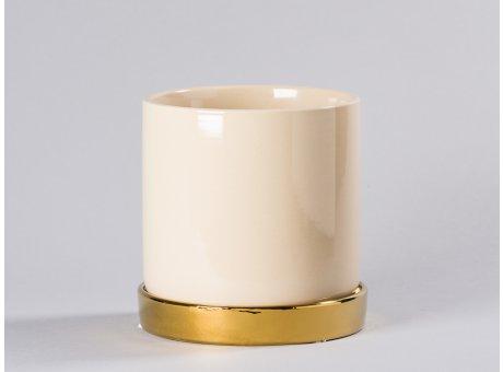 Bloomingville Blumentopf Natur Beige mit Untersetzer Gold schlicht Keramik Übertopf Durchmesser 15 cm für Fensterbank Deko