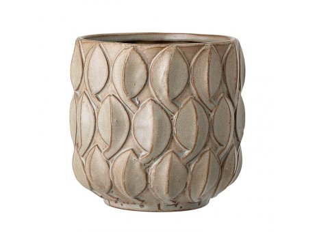 Bloomingville Blumentopf Natur Blatt Struktur 14 cm Keramik Übertopf Design Nr 82047441