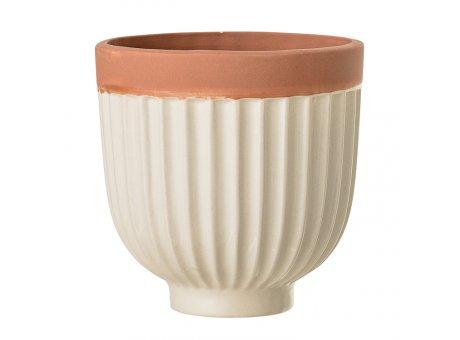 Bloomingville Blumentopf Natur mit Rillen 12 cm Keramik Übertopf Produt Nr 75101647