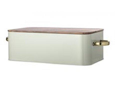 Bloomingville Brotkasten grün 53 cm Metall mit Bambus Holz Deckel und goldenen Griffen