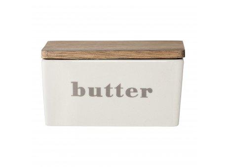Bloomingville Butterdose HANYU Grau mit Aufdruck Butter Deckel aus Bambus Holz Bloomingville Geschirr Nr 21109494