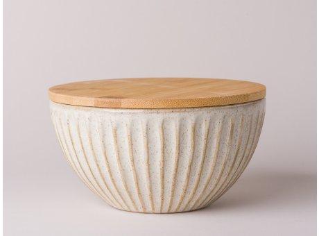 Bloomingville Carrie Dose mit Holzdeckel Vorratsdose 700 ml Inhalt aus Keramik