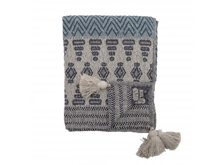 Bloomingville Decke Blau Grau Recycelt Baumwolle 130x160 cm Wolldecke mit Bommeln Bloomingville Produkt Nummer 82047690