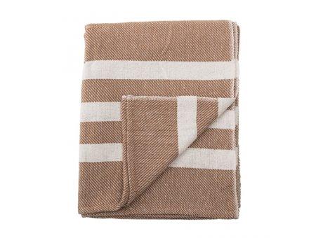 Bloomingville Decke braun mit creme weißen Streifen aus Baumwolle