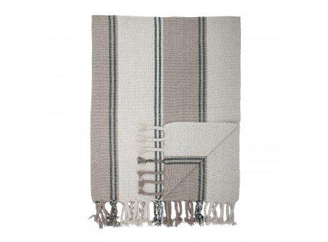 Bloomingville Decke Grau Braun Streifen mit Fransen Plaid Größe 130x160 cm