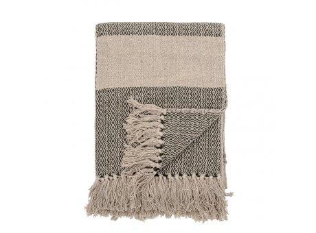 Bloomingville Decke Natur Grün mit Muster und Streifen Recycelt Baumwolle Throw 130x160 cm Artikel Nr 82049731