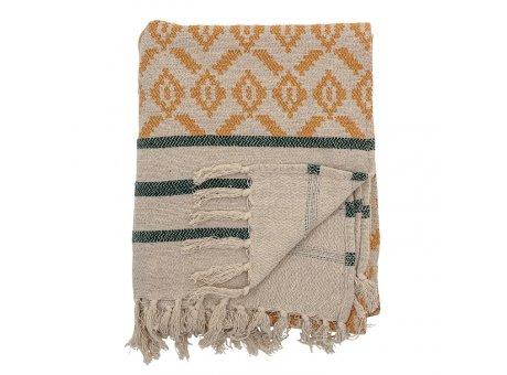 Bloomingville Decke Natur mit Muster Gelb und Streifen Grün Recycelt Baumwolle Throw 130x160 cm Artikel Nr 82049737